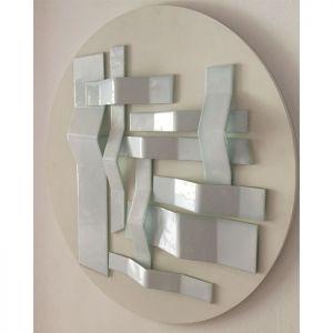 | trama blanca pliegues-2017-vidrio sobre madera [0.80 diam]