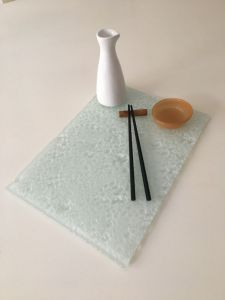   Laja de vidrio texturado20x30cm -Dip organico – Botella Sojera