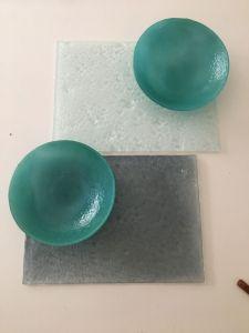   Laja de vidrio texturada 20x30cm  COD:0224 Bowl 22diam COD:0117